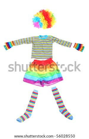 multicolored funny clown dress isolated on white background