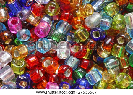 Multicolored gem beads, macro. - stock photo