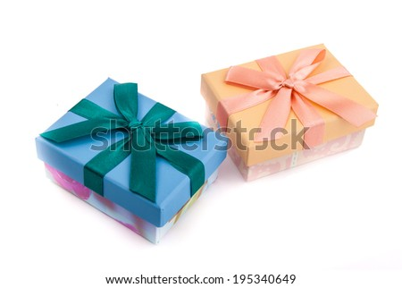 multicolored giftboxes isolated on white