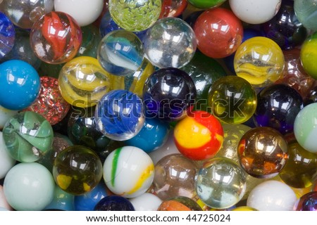 Multicolored glass marbles