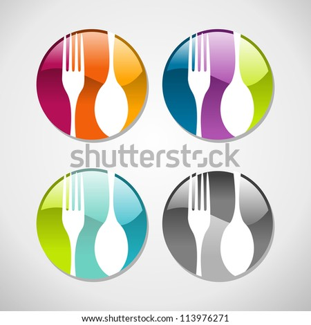 Multicolored glossy food web icons set background. - stock photo