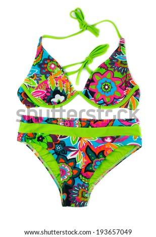 Multicolored, green separate swimsuit. Isolate on white. - stock photo