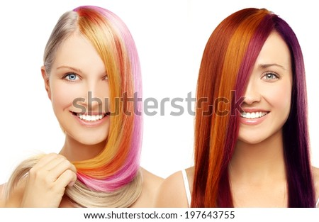 Multicolored hair.White background - stock photo