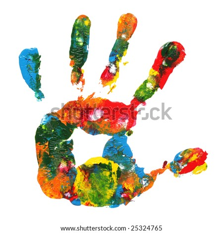 Multicolored hand print - stock photo