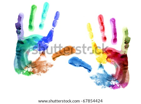 Multicolored hand print. - stock photo