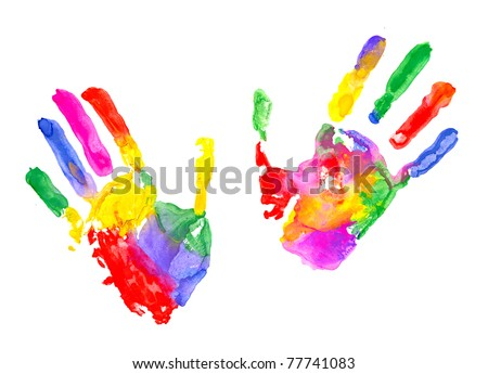 Multicolored hand print on white background - stock photo