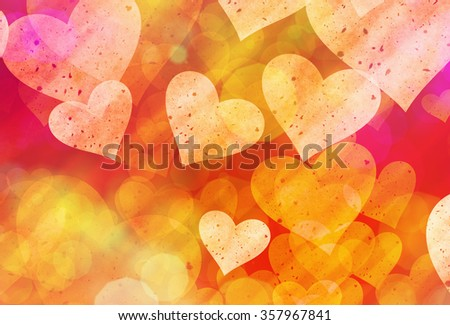 multicolored hearts background of Love symbol - stock photo