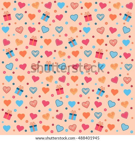 Multicolored hearts with colored flowers and gifts on a pink background