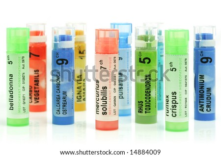 Multicolored homeopathy tubes isolated on a white background
