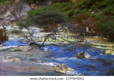 Multicolored hot spring in Rotorua, New Zealand - stock photo