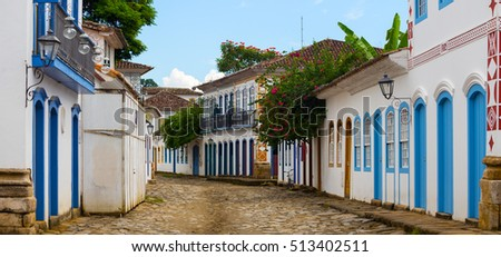 multicolored houses on streets of the famous historical town Paraty, Brazil