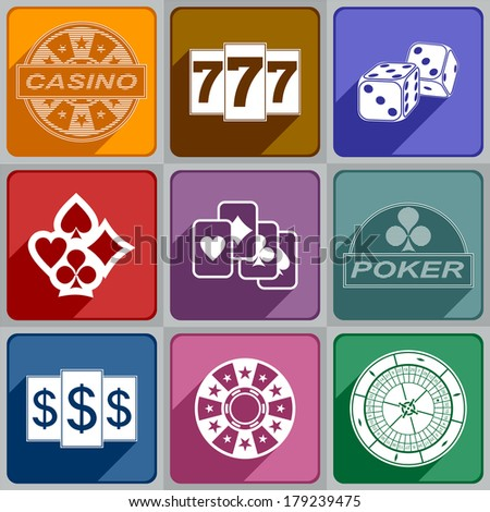 Multicolored icons relating to a casino. - stock photo