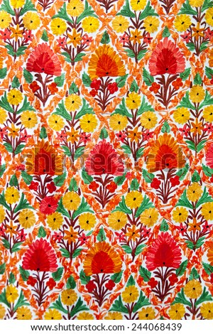 Multicolored indian cloth (canvas). - stock photo
