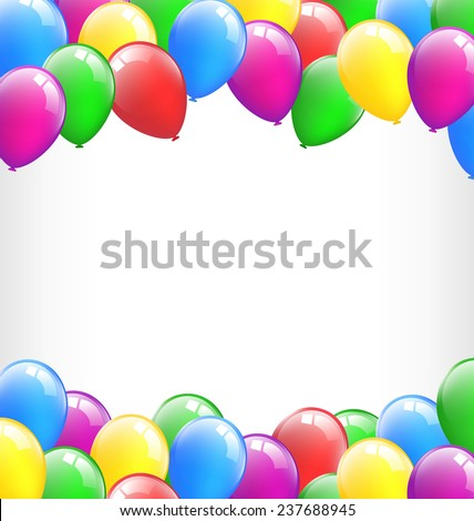 Multicolored inflatable air balls like frame isolated on white background - stock photo