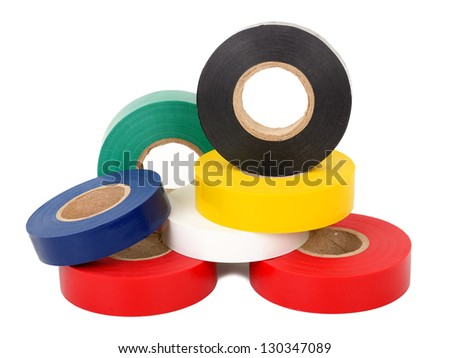 Multicolored insulating tapes roll - stock photo