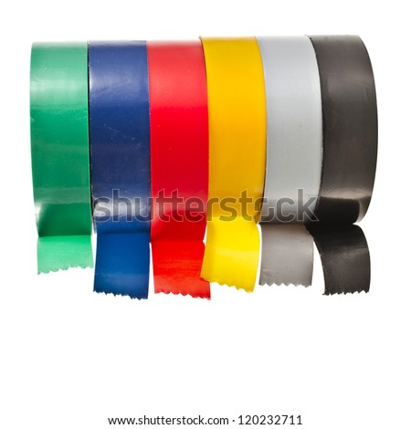 Multicolored insulating tapes roll  isolated on white background - stock photo