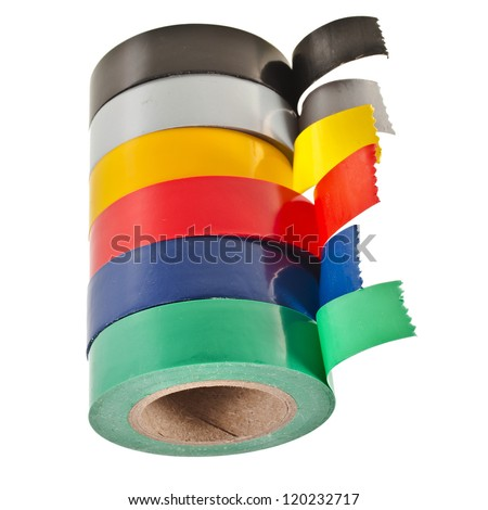 Multicolored insulating tapes roll  isolated on white background