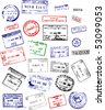 Multicolored International passport stamps on a white background - stock vector