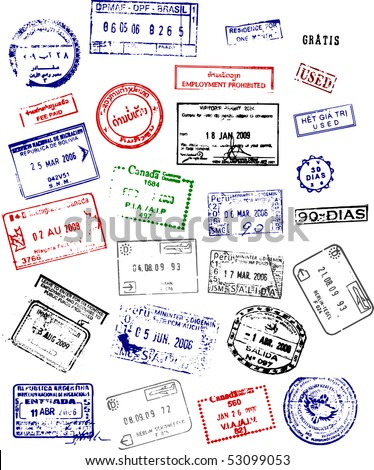 Multicolored International passport stamps on a white background