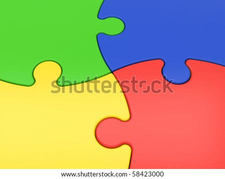 multicolored jigsaw puzzles close-up - stock photo