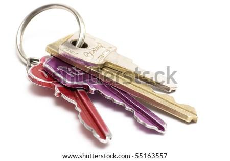 multicolored keys on white background - stock photo
