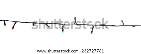 Multicolored lamp festive garland isolated on white background