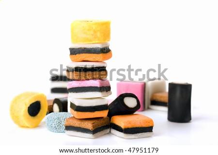 Multicolored licorice candy - stock photo