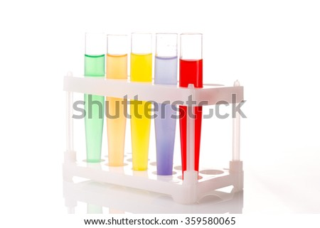 Multicolored liquid chemical tubes.