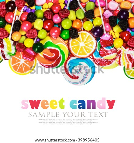 multicolored lollipops, candy and chewing gum on a white background. text removed
