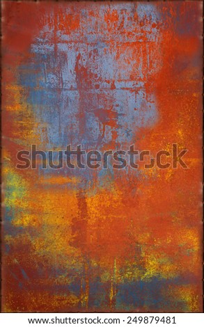 Multicolored Metal Texture with Rusty Seams Along Edges (Part of Colorful Metal Textures set, which includes 12 textures that fit together perfectly to form a huge image) - stock photo