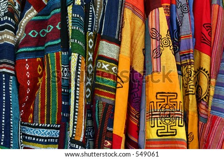 Multicolored Mexican Embroidered Ponchos - stock photo