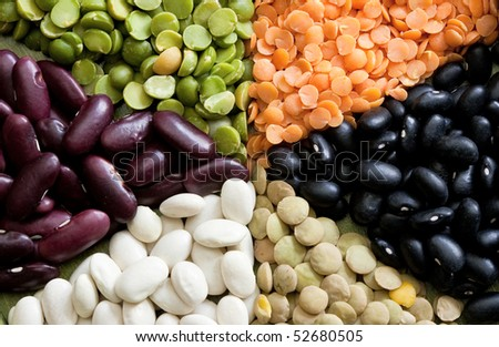 Multicolored mixed dried beans (peas, string bean, lentils). - stock photo