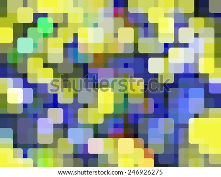 Multicolored mosaic of rounded squares aligned on a grid, like so many city lights, with overlaps for illusion of three dimensions - stock photo