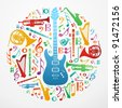 Multicolored music instruments silhouette in circle shape. - stock photo