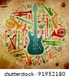 Multicolored music instruments silhouette in circle shape. Vintage background - stock photo