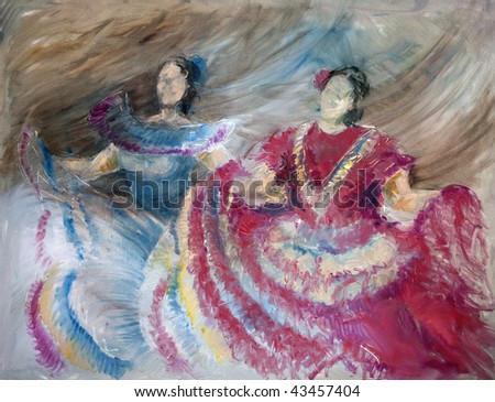 Multicolored Oil painting on Canvas, Spanish dancers in blue and red colors. - stock photo