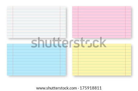 Multicolored Paper sheets with stripes isolated on  white - stock photo