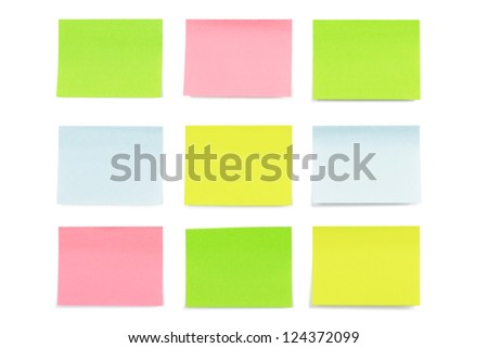 Multicolored paper stickers isolated on white background