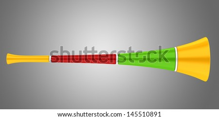 multicolored party horn isolated on gray background