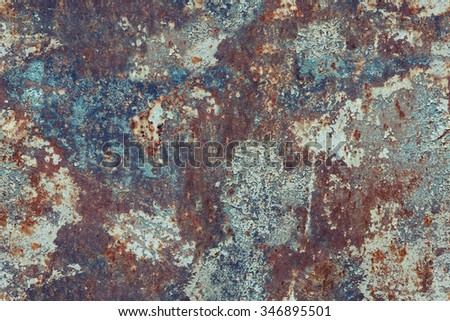 Multicolored peeled pained metal surface background. Vintage effect. Tiled. - stock photo