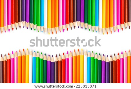 Multicolored pencils isolated on white background - stock photo