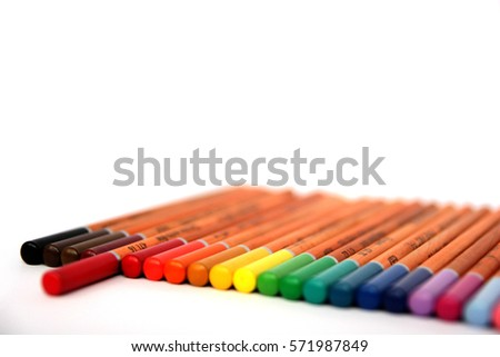 Multicolored pencils isolated on white background. School drawing equipment. Color pencils collection. Designer set pencils tools.