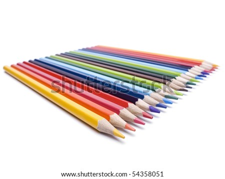 Multicolored pencils neatly organized and sharped. - stock photo