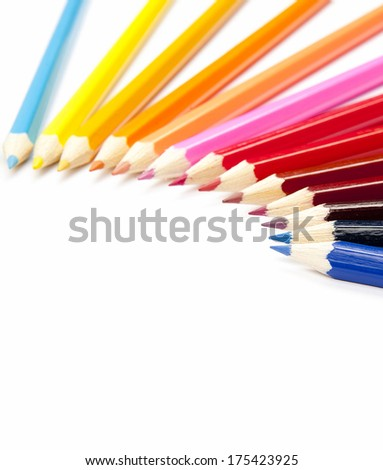 Multicolored pencils set isolated on white background with space for your text - stock photo