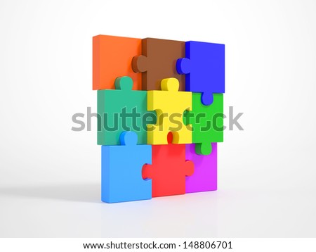 Multicolored Pieces of a Puzzle matching together and build up a Wall