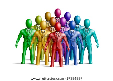 Multicolored plasticine businessmen figures on a white background - stock photo