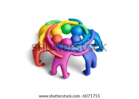 Multicolored plasticine embraced  human figures concluding a treaty - stock photo