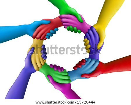 Multicolored plasticine hands on a white background - stock photo