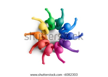 Multicolored plasticine human figures at all-round defence position - stock photo