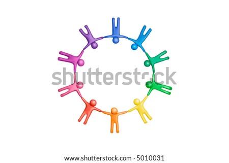 Multicolored plasticine human figures organized in a circle - stock photo